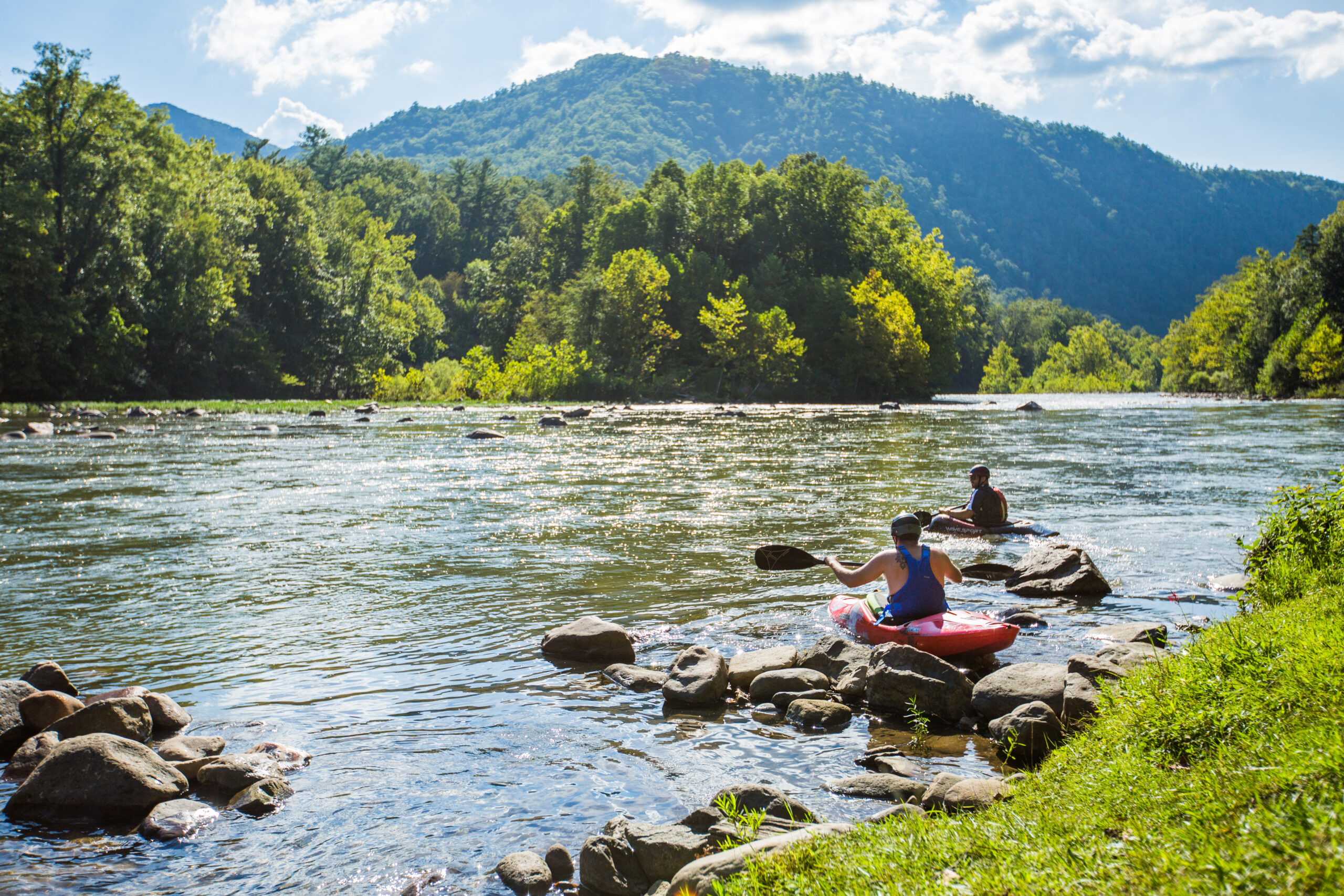 Canoeing on the river in Unicoi, Tennessee