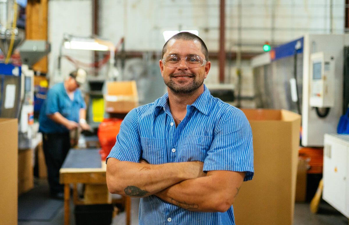 Entrepreneur in a manufacturing facility