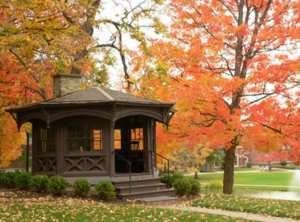 A gazebo in NY state surrounded by fall foliage