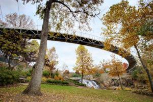 A pedestrian footbridge on a trail in Greeneville, SC