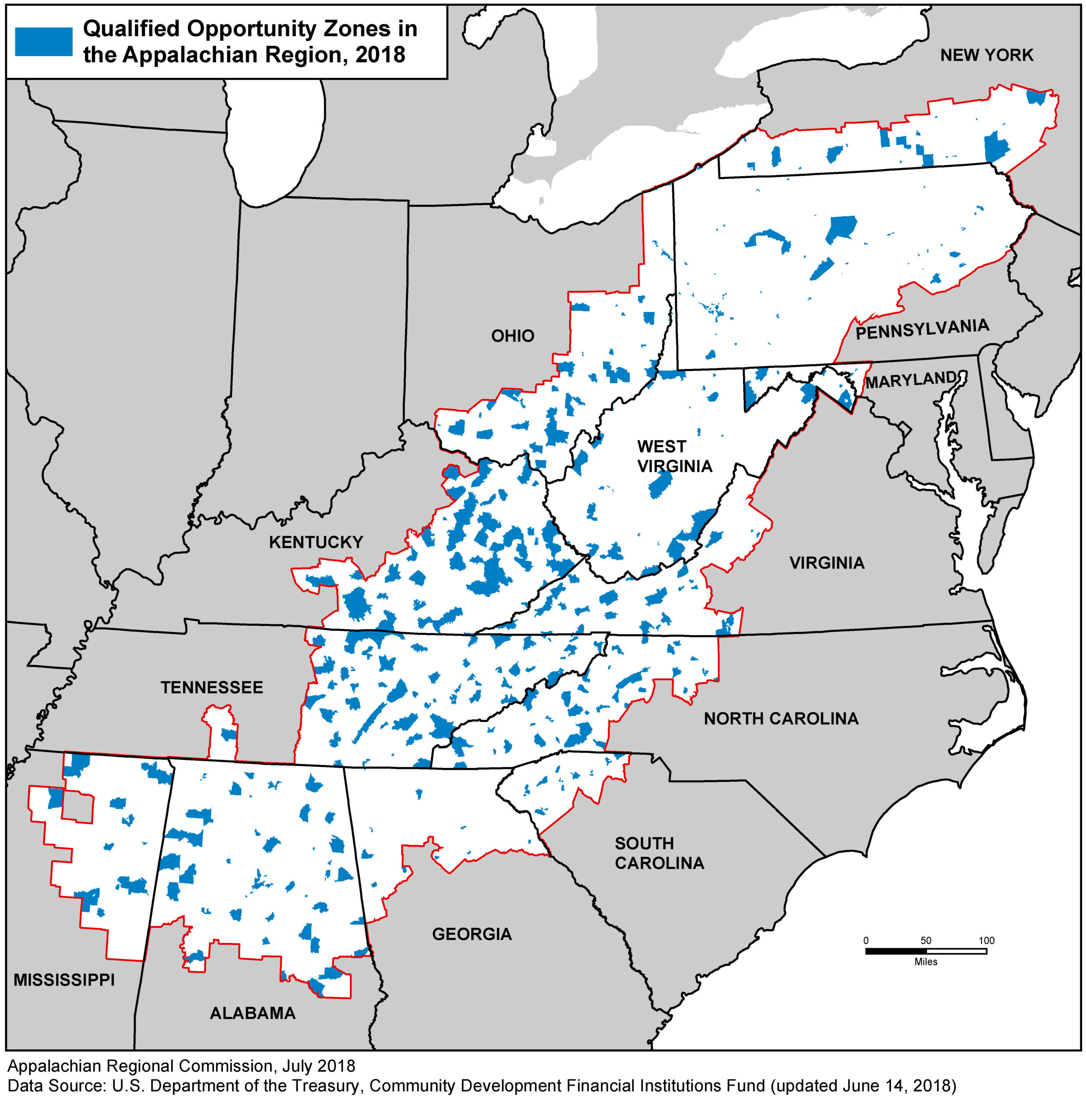 Map of Opportunity Zones in Appalachia, 2018